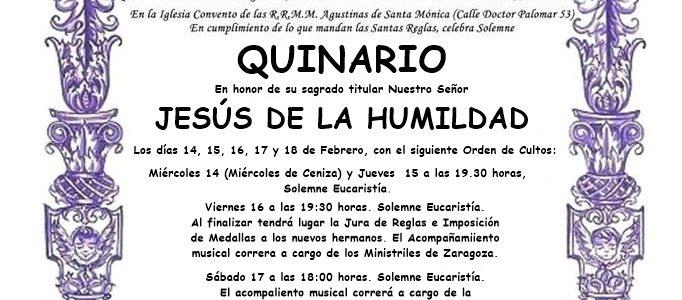 SOLEMNE QUINARIO EN HONOR A NTRO. SEÑOR JESÚS DE LA HUMILDAD