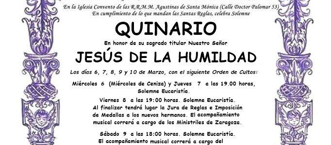QUINARIO EN HONOR A NUESTRO SEÑOR JESÚS DE LA HUMILDAD 2019