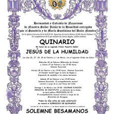 QUINARIO EN HONOR A NUESTRO SEÑOR JESÚS DE LA HUMILDAD 2020