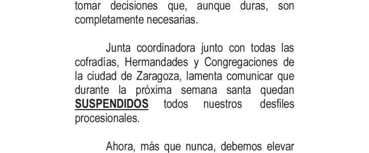 SUSPENSIÓN DE LA SALIDAS PROCESIONALES 2020